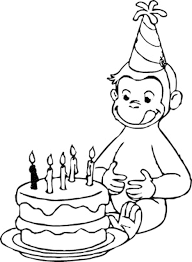 Curious George Love Birtday Cake Coloring