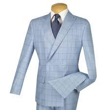 Light Blue Windowpane Suit Details About Vinci Mens Light Blue Windowpane Double Breasted 4 Button Slim Fit Suit New