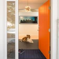 Orange front door Designs Entry To Modern Home With Bright Orange Front Door Photos Hgtv Photos Hgtv