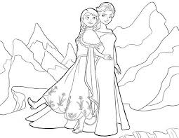 Small Picture Anna and Elsa Standing Side by Side Coloring Page Anna and Elsa