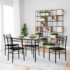 cool dining table and chairs. vecelo dining table set, glass and 4 chairs metal kitchen room furniture 5 pcs cool