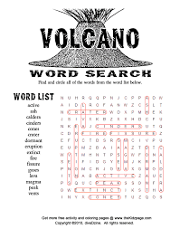 Small Picture Volcano Word Search Puzzle Free Coloring Pages for Kids