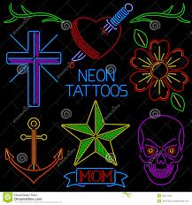 неоновые татуировки иллюстрация вектора иллюстрации насчитывающей