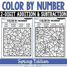 It contains five versions of two digit subtraction without regrouping worksheets for grade 1 or grade 2 or class 2 or year 2 students. Spring 2 Digit Addition And Subtraction Color By Number No Prep Printables