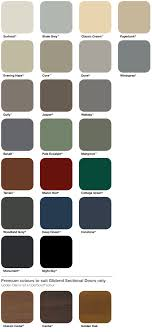 Colorbond Colour Chart Pt Garage Doors Sydney