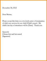 Two Weeks Notice Letter For Daycare How To Write A Two Week Notice Business Proposal Sample