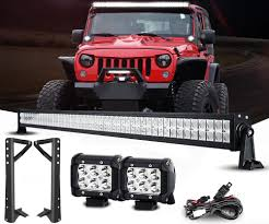 52 Inch Light Bar For Jeep Jeep Wrangler Lightbar Combo 52 Inch Lightbar Pods Mounts Wiring
