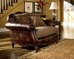 Oversized Chairs For Living Room Living Room With Leather Oversized Chair And Wooden Nightstand