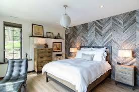 reclaimed cedar fence turned into a fascinating feature wall in the rustic bedroom design