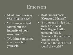 """emerson  thoreau and the advent of transcendentalism an american    emerson most famous essay  """"self reliance""""most famous essay  """"self reliance"""