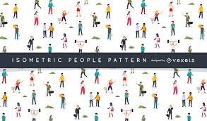 People Pattern Unique Isometric People Pattern Design Vector Download