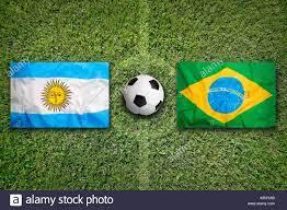 Brazil vs. Argentina flags on soccer field Stock Photo - Alamy