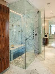 Sleek Frameless Glass Enclosed Showers Modern Granite Bathroom Brown Wooden  Closet