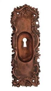 antique bronze art nouveau pocket door plate