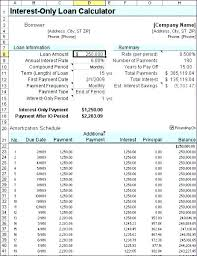 Interest And Amortization Calculator Interest Only Calculator Excel Commercial Loan Amortization Schedule