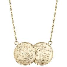 9ct yellow gold st george full two coin