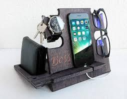 amazon best boss engraved wooden docking station corporate gift for men desk organizer for devices handmade