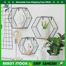 Readystock Home bedroom wall shelf living room <b>creative</b> wall ...