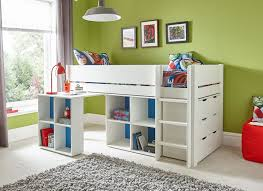 Kids Bedroom Desks Tinsley Midsleeper With Storage Desk And Chest Of Drawers White