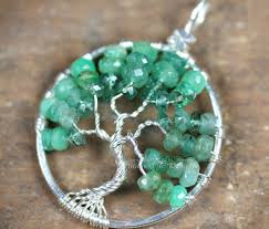 stunning shaded ombre emerald rondelles in silver wire make up this handcrafted wire wrapped tree