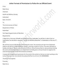 Permission Letters Template Police Permission Letter For Official Event Your Hr World