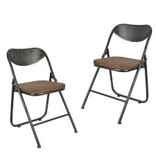 decor therapy vintage charcoal and oak metal and wood folding dining chair set of 2