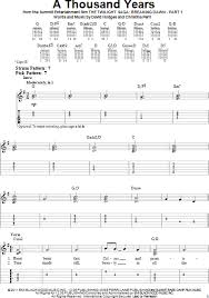 A Thousand Years Sheet Music A Thousand Years Easy Guitar With Tab