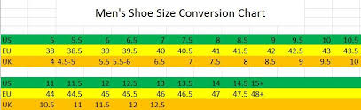 Mens Shoe Boot Conversion Size Chart Eu To Us Encore