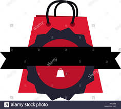 Online Badge Online Shopping Bag Badge Ribbon Vector Illustration Stock