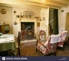 Patterned Chairs Living Room Floral Patterned Chairs In Front Of Fireplace In Fifties