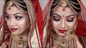 red asian bridal makeup tutorial 2017 gorgeous glittery eyes with red lips indian wedding