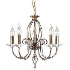 elstead aegean 5 arm chandelier antique brass