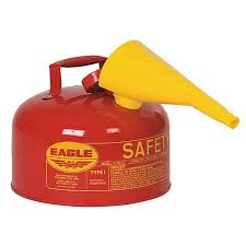 1 gallon gas can. eagle 2.5 gallon gas can - type 1 red safety w/funnel