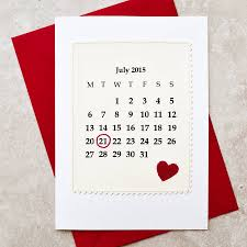 Calendar Personalised Date Anniversary Card By Jenny Arnott Cards