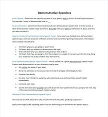 Sample Demonstration Speech Example Template Free Documents Speaking ...