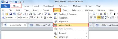 where is the word count in microsoft word and