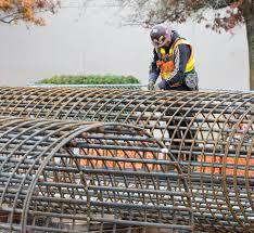 bridge pillar rebar steel worker rebar worker