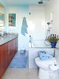 blue bathroom ideas standing washbasin under the mirror black white wall tile white ceramic bath tub