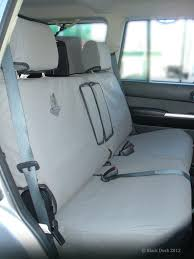 row two rear bench 50 50 split with armrest cover nissan patrol wagons from 10 2004 onwards selected models see description black duck seat covers