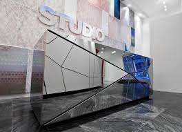 polished stainless steel reception desk