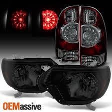 Black Smoked] 2012-2015 Toyota Tacoma Headlights + LED Tail Lights ...