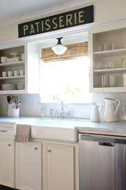 kitchen lighting over sink. Open Shelving, Farmhouse Sink, Bridge Faucet, Schoolhouse Light, Carrara Marble - Love This Beautiful \u0026 Classic Kitchen Lighting Over Sink