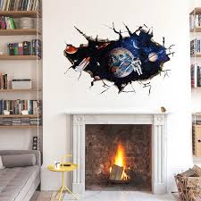 the new fake window 3d outer space wall sticker kids room bedroom wall stickers for kids rooms adesivos parede home decor in wall stickers from home