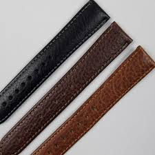 calf leather hirsch forest wrisch strap with lightly textured finish