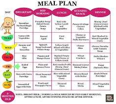 Baby Food Chart 9 Months Old 6 Month Old Baby Meal Plan Best Menu Template Design