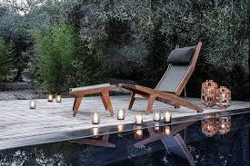 bay teak reclining chair and ottoman by gloster