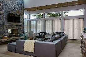 ... Contemporary Living Room Window Blind Ideas Grey Custom Fabric Vertical  Blinds Grey Fabric Sectional Sofa Grey