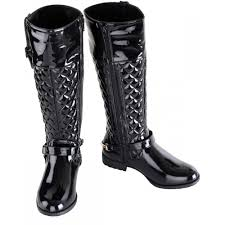 Women's Black Quilted Patent Gold Buckle Long Boots | I love my ... & Women's Black Quilted Patent Gold Buckle Long Boots Adamdwight.com
