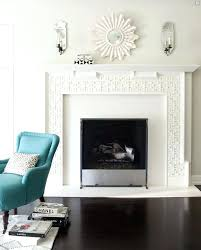 full image for chic living room design with white fretwork fireplace small white sunburst mirror flanked