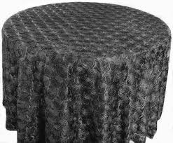 132 round satin rosette tablecloth black56639 1pc pk